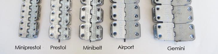Zestawienie połączeń nitowanych: gemini, airport, minibelt, prestol, miniprestol