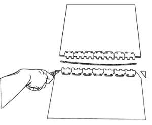 Spinka, złącze do naprawy mechanicznej pasów gumowych - przycinanie pasa